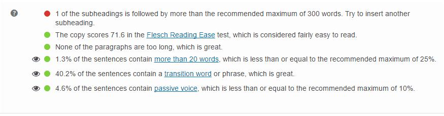 Yoast SEO kiểm tra độ dễ đọc