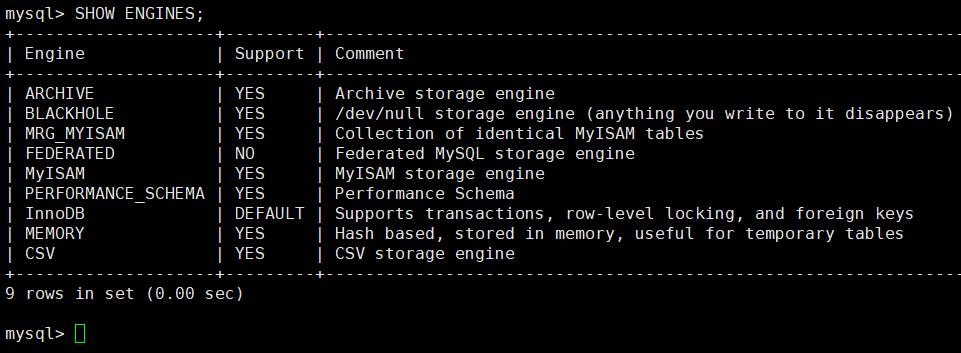 so sánh các Storage Engine phổ biến trong MySQL